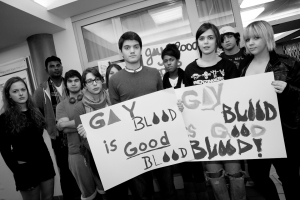 Dawson students promote awareness for End the Ban during the blood drive