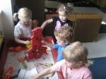 Kochavim class playing in the sensory table