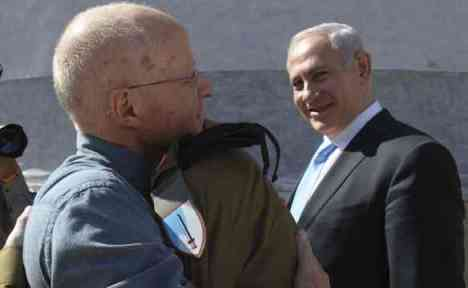 Gilad Shalit Hugs His Father
